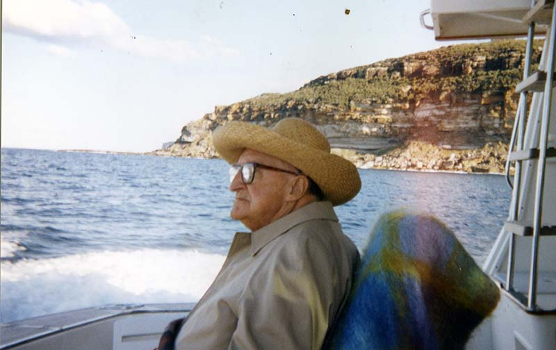 Leon MacLaren on boat in Sydney Harbour 1993