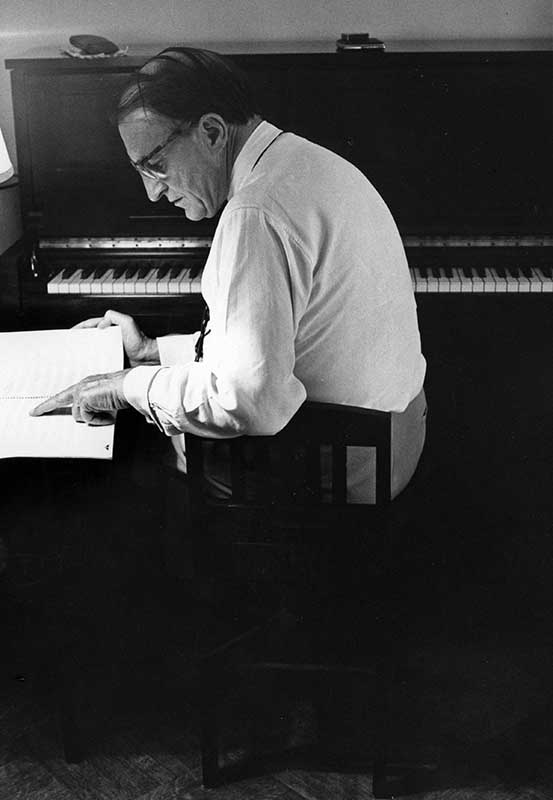 Leon MacLaren composing in New York, 1972